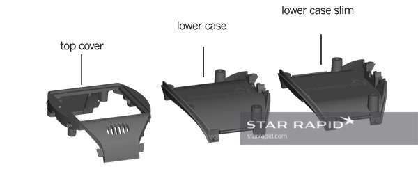 The 3D drawings of all three parts. The 'top cover' is made in the first mold. The 'lowercase' parts are both made in the second mold.